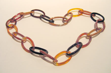 """chain"" flame worked glass necklace by artist vivienne bell"