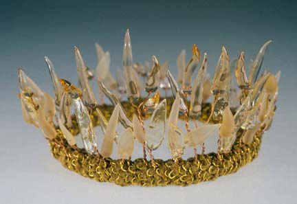 """coronet"" glass crown / tiara - glass, copper, fabric - by artist vivienne bell"