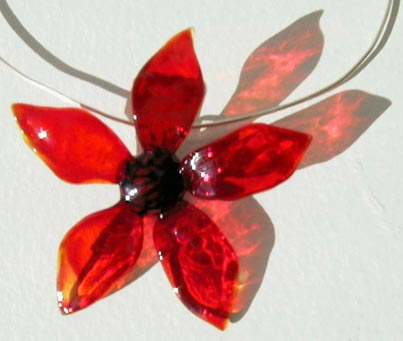 """flower pendant"" flame sculpted glass flower on sterling silver wire by artist vivienne bell"